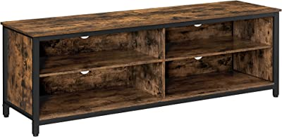 VASAGLE TV Stand for TVs up to 65 Inch, Entertainment Center, TV Cabinet with Storage, 4 Cubby TV Stand Table with Adjustable Shelves for Living Room,Bedroom, Rustic Brown and Black ULTV304B01