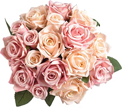 Amazon Com Aonewoe Artificial Flowers Silk Rose Bridal Bouquet Flowers Artificial Flower Arrangements For Home Decoration Party Wedding Champagne Pink No Vase Home Kitchen