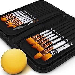 مجموعه قلم مو رنگی BENICCI از 16 - 15 شکل مختلف 1 برس مسطح - با چاقو و اسفنج Pallete - دسته های نقره ای مات نایلون و ارگونومیک ضد لغزش - با یک جعبه قابل تنظیم