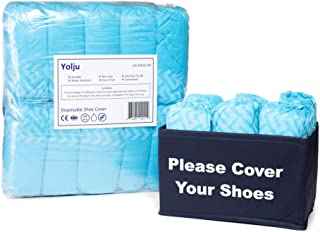 Yolju 200 Pack Disposable Shoe Covers with a Bonus Small Storage Box | Water Resistant, Non slip, Durable Non-Woven Material