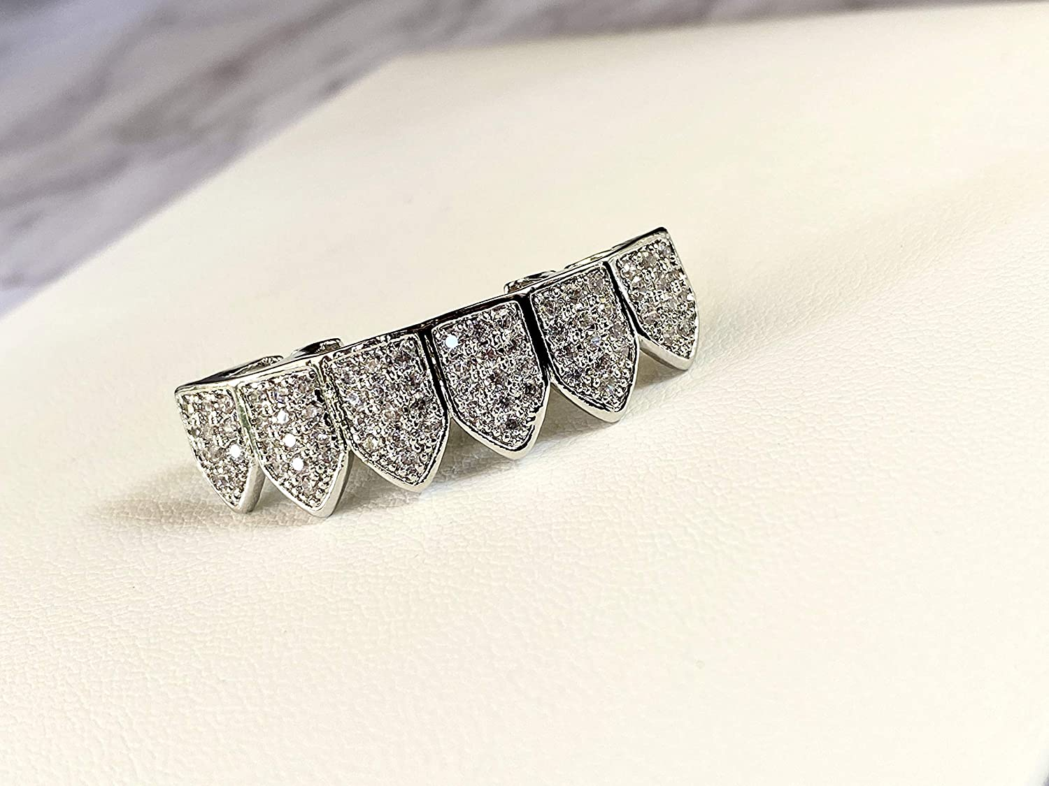 18K White Gold Plated CZ Cluster Custom Slugs Top Bottom Grillz Mouth Teeth Grills Set - Grillz, Teeth Cap, Iced Out Grillz