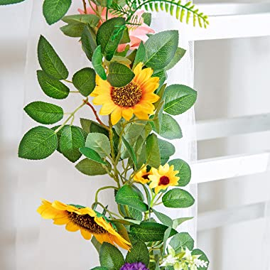 Naidiler Flower Garland, Rose Floral Garland for Boho Birthday Decorations Wedding Arch Decor, Fake Sunflower and Rose Vines