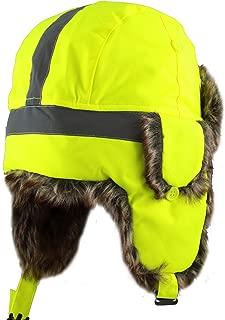 Safety Reflective Faux Fur Aviator Kids Adult Trapper Hat Snow Ski Trooper Winter Cap