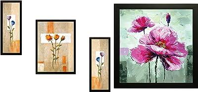 SAF Flower Pot Digital Reprint Synthetic Painting (Set of 3) & 'Flower' Painting (Synthetic, 30 cm X 30 cm X 3 cm) Combo