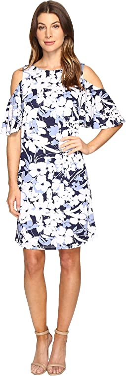Christin Michaels - Danish Floral Cold Shoulder Dress