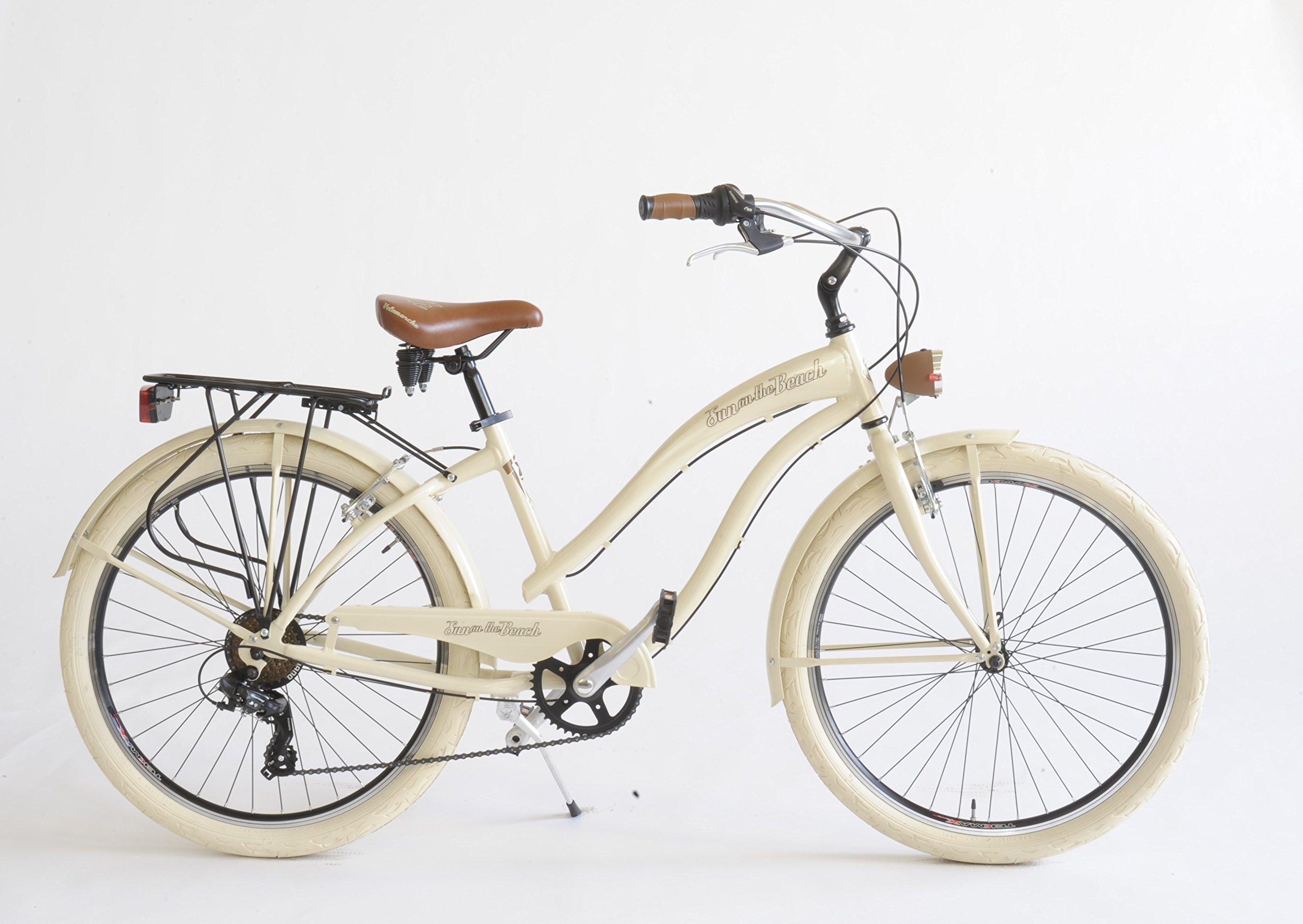 Via Veneto - Bicicleta Cruiser para mujer, fabricada en Italia, Mujer, beige: Amazon.es: Deportes y aire libre