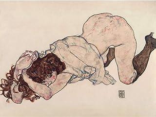 Egon Schiele Kneeling Girl Resting On Both Elbows Extra Large Art Print Wall Mural Poster Premium XL 女の子大アート壁ポスター