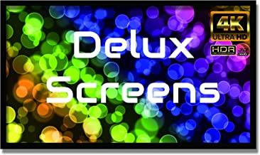 Delux Screens 150 inch 4K/8K Ultra HDR Projector Screen - Active 3D Ready - 6 Piece Fixed Frame - Home Theater Movie Projection Screen - PVC Matte White - Velvet Border (150