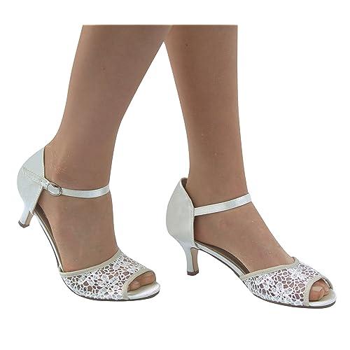 ea38a21c4 Tinsel 0062 New Ladies Satin Lace Bridal Low Heel Sandals Size 345678