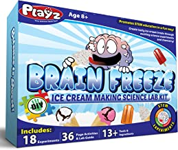 Playz Brain Freeze Ice Cream Making Science Kit - 18+ Yummy STEM Experiments, 36 Page Lab Guide, 13+ Ingredients and Tools...