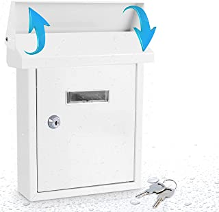 Serenelife SLMAB01 Wall Mount Lockable Mailbox- Modern Outdoor Galvanized Metal Key Large Capacity- Commercial Rural Home ...