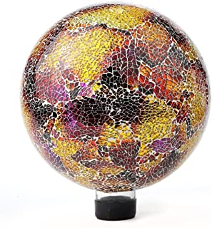 Lily's Home Colorful Mosaic Glass Gazing Ball, Designed with a Stunning Holographic Crackle Mosaic Pattern to Bring Color and Reflection to Any Home and Garden, Purple and Gold (10