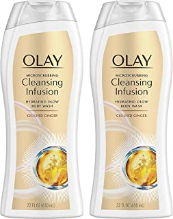 Olay Body Wash - Cleansing Infusion - Crushed Ginger - Net Wt. 22 FL OZ (650 mL) Per Bottle - Pack of 2 Bottles