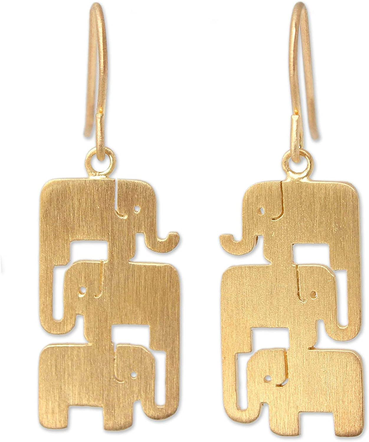 NOVICA Yellow Gold Plated cheap .925 Silver Sterling New color Vermeil Dangle Ea