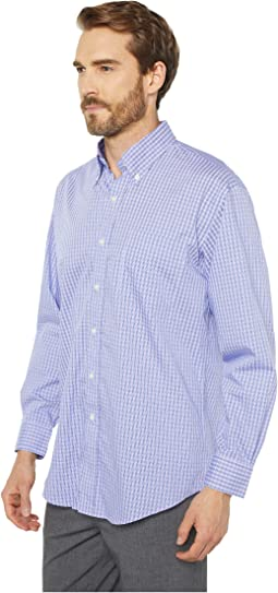 Long Sleeve Magnetically-Infused Check Dress Shirt - Spread Collar