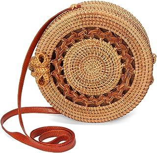dDanke Handwoven Round Rattan Bag Straw Bag Shoulder Leather Straps Natural Chic Handbag Shoulder Beach Tote Bags