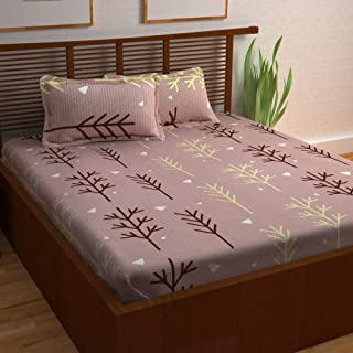 Story@Home 120 TC 100% Cotton Prism Collection Elegant Floral Pattern 1 Double Bedsheet with 2 Pillow Cover - Mauve