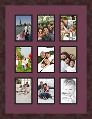 x and 9-5x7 and 1-8x10 Openings and Espresso Frame Art to Frames Double-Multimat-1110-119//89-FRBW26061 Collage Frame Photo Mat Double Mat with 1