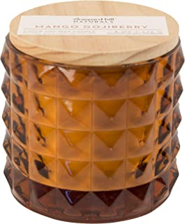 Vineyard Hill Naturals Faceted Glass 3-Wick Scented Candle, 8-Ounce, Mango & Gogi Berry