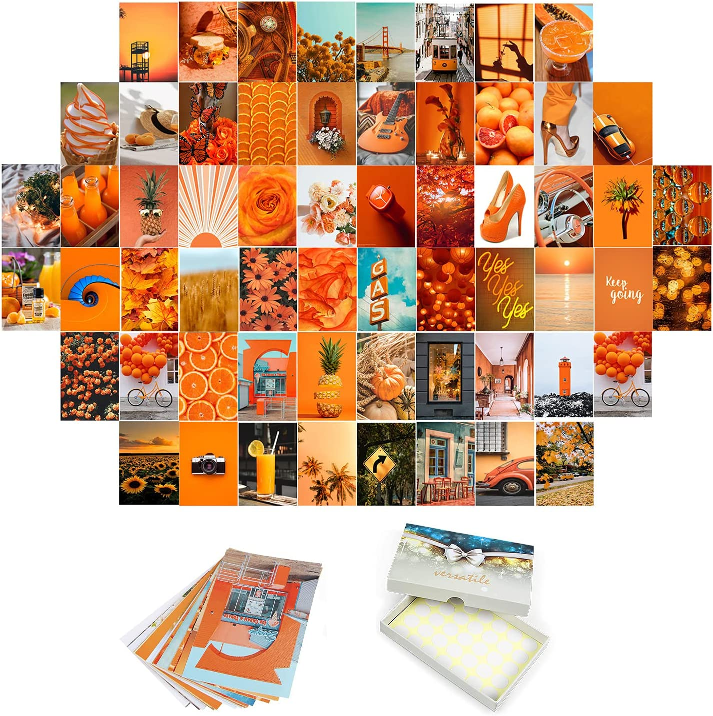 Orange Wall Collage Kit Wall Decor for Room Aesthetic, 60 Set Room Decor Aesthetic Pictures for Teen Girls, VSCO Bedroom Decor, Aesthetic Posters with stickers (60 Set 4x6 Inch, Orange)