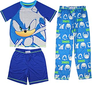 Sonic The Hedgehog Boys' Pijamas Ropa de Cama 3 Piezas Loungewear Set (MD, 8)