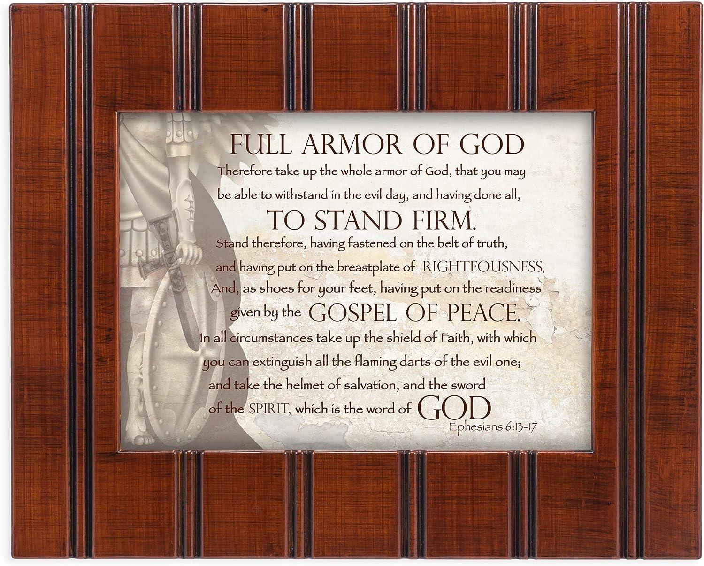 Cottage Garden Full Armor of God Ephesians 6:13-17 8x10 Woodgrain Framed Art Wall Plaque Sign