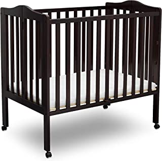 Delta Children Folding Portable Mini Baby Crib with Mattress, Dark Chocolate