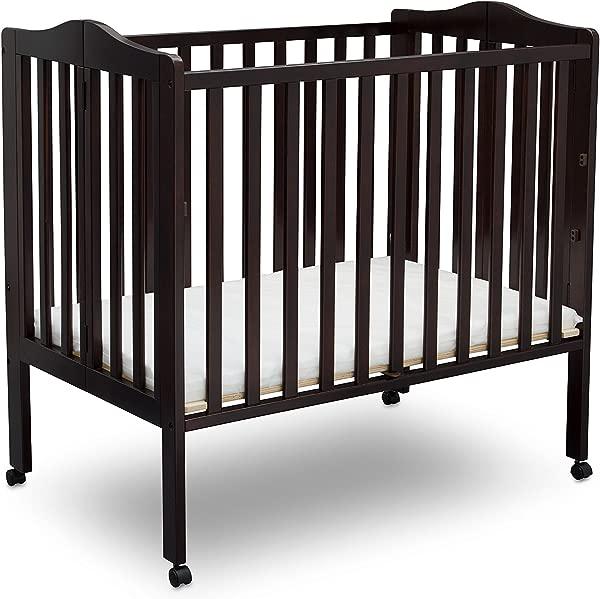 Delta Children Folding Portable Mini Baby Crib With Mattress Dark Chocolate
