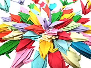 Kingsnow 100 PCS Multicolor Origami Paper Crane Folded Hand-Made DIY Crane for Wedding Party Baby Shower Background Decoration, Symbol of Love, Happiness, Good Luck