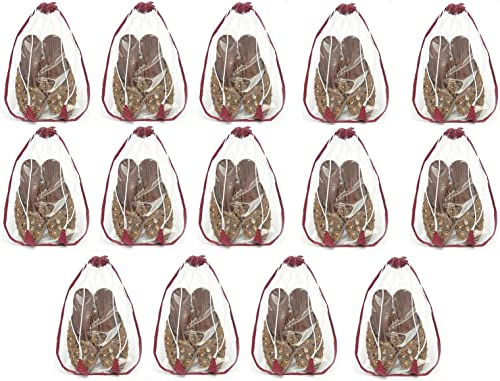 Shoe Storage Pouch Shoe Covers for Home Small Shoe Cover Set Shoe Pouch Set of 14 Maroon