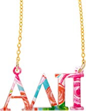 Alpha Delta Pi Sorority Floating Necklace with Letters Floral Pattern Necklace Adjustable Chain ADPi