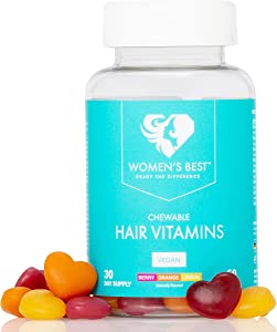 WOMEN'S BEST Hair Vitamins • Vegan Chewable Biotin Gummies for Women • 5000mcg Biotin + Vitamins for Hair Growth • 1 Month Supply • Berry + Orange + Lemon