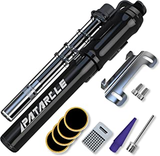 Patarcle Mini Bike Pump Portable - Aluminum Alloy Frame-Mounted - 260 PSI High Pressure - Presta & Schrader Valves Available