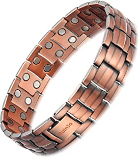 Rainso Mens Copper Double Row Magnetic Therapy Bracelets for Arthritis Wristband Adjustable