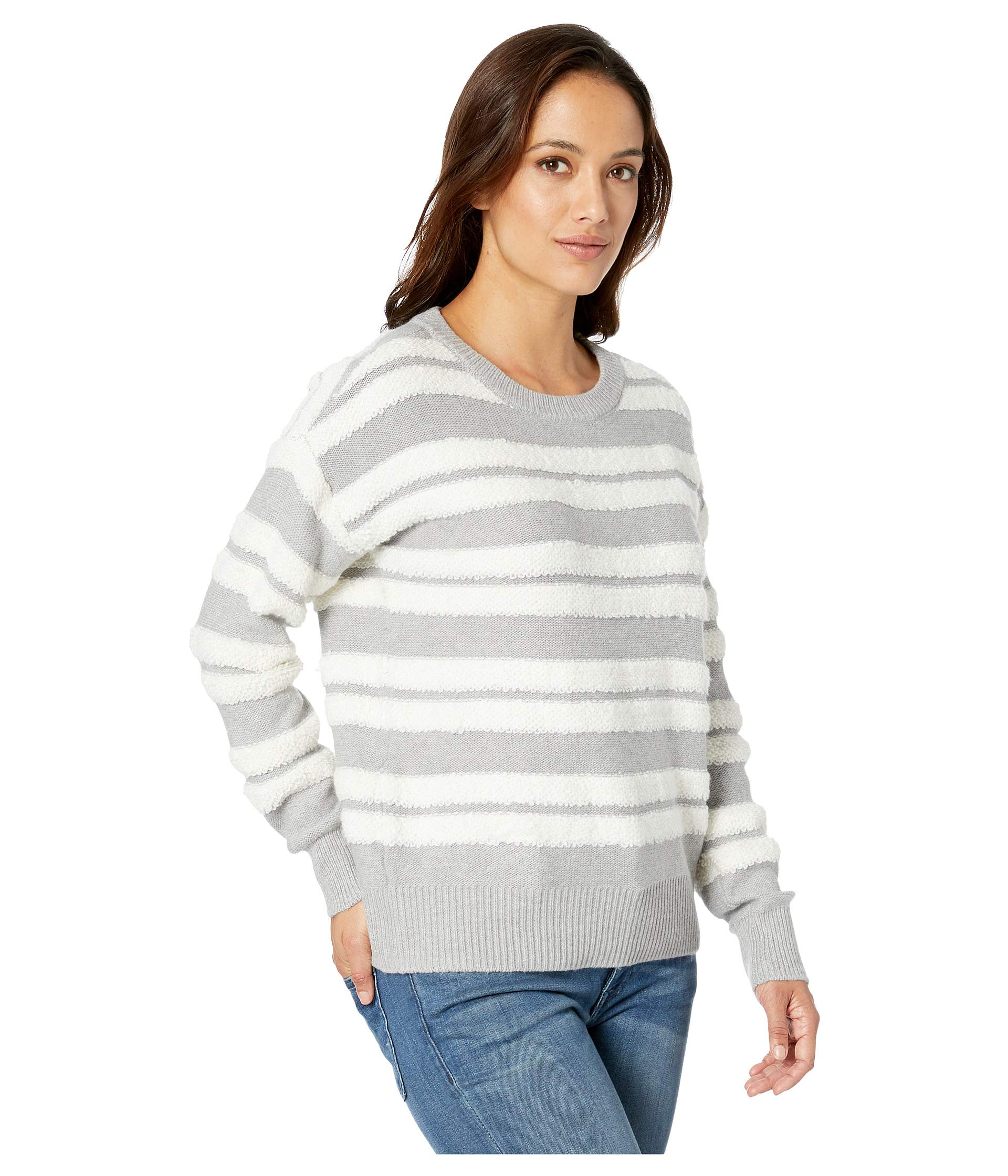 Long Grey Camuto By Stripe Two Light Loop Sleeve Heather Neck Vince Crew Sweater 4Swt1q1Zx