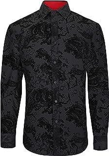 MEMPHIS 1819 - Camisa retro con estampado de cachemira en tejido elástico suave y sedoso (M-159)