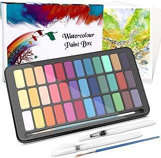 WOSTOO vattenfärg färguppsättning vattenfärg färger vibrerande färger professionell akvarellsats bärbar akvarellblock med ...