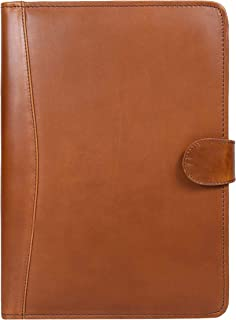 Leather Travel Portfolio | Professional Organizer Men & Women | Tablet Holder Leather Padfolio with Sleeves for documents and Ipad by Aaron Leather (Cedar Brown)