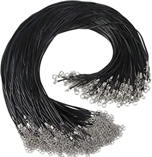 """120pcs 20"""" Black Waxed Necklace Cord with Clasp 1.5mm Bulk Adjustable Necklace String for Bracelet Necklaces and Jewelry M..."""