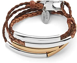 Mini Addison Braided Leather Wrap Bracelet Gold Silver in Natural Antique Brown Leather