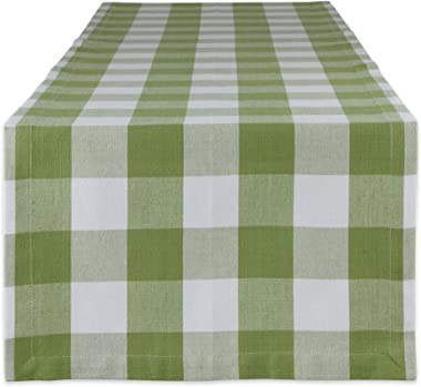 DII Buffalo Check Collection Classic Tabletop, Table Runner, 14x72, Antique Green