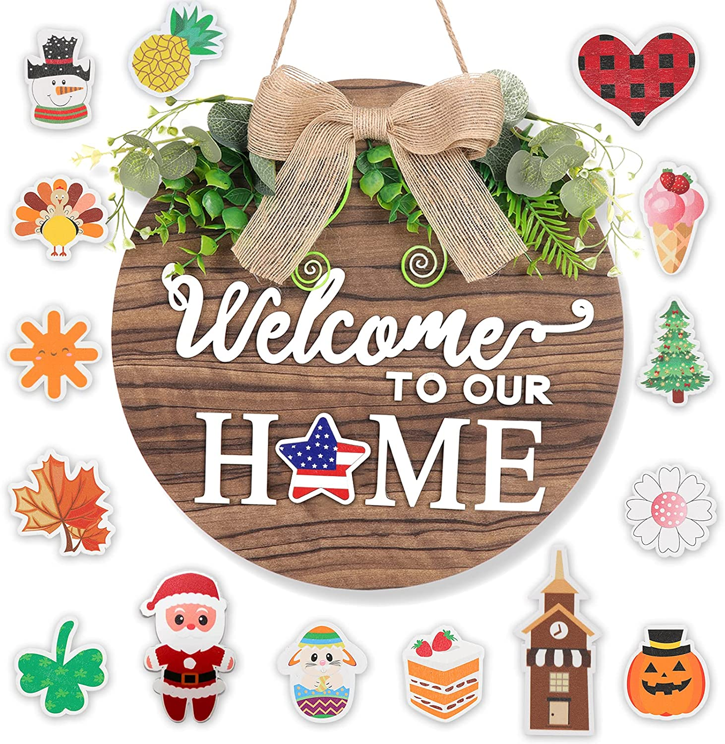 Wooden Seasonal Welcome Sign For Front Door, Interchangeable Holiday Welcome To Our Home Hanging Door Sign For Front Porch 16 Holiday Icons Farmhouse Outdoor Housewarming Gifts Christmas Door Decor