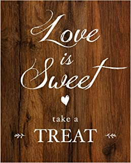 2 City Geese Love is Sweet Take a Treat Sign for Wedding Reception | Rustic Wood Look On Linen Textured Thick Cardstock Paper | Wedding Reception Decoration