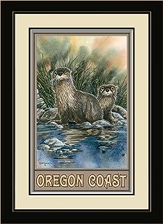 "Northwest Art Mall BA-4026 MFGDM OTT Oregon Coast Otters Framed Wall Art by Artist Dave Bartholet, 13"" x 16"""