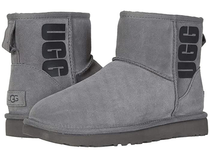 UGG  Classic Mini Rubber Logo (Grey) Womens Cold Weather Boots