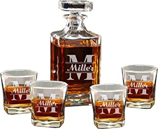 Custom Engraved Groomsmen Gifts - Whiskey Decanter Set and 4 Glasses Gifts Set - Personalized and Monogrammed for Free - WPS Styles