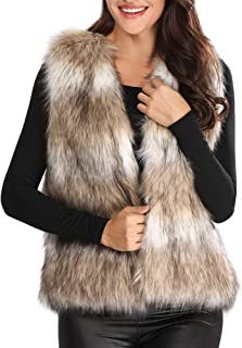 Caracilia Women's Fashion Autumn and Winter Warm Short Faux Fur Vests Waistcoat Jacket with Pockets