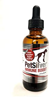 PetSilver Immune Boost - 100 ppm of Chelated Silver - 2 oz Glass Bottle with Glass Dropper - Immune System Support for Dogs and Cats. Respiratory & Sinus Infections.