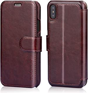 Belemay iPhone X Case, iPhone 10 Case, Genuine Leather Wallet Case, Flip Folio Book Cover, Card Holder Slots, Kickstand, Magnetic Clousure, Cash Pockets Compatible iPhone X (iPhone 10), Brown