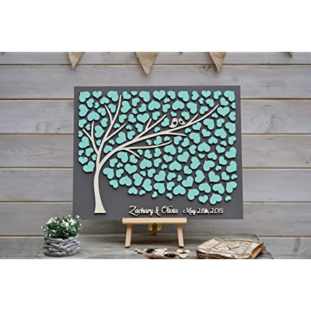 Custom colors 3D Wedding guest book alternative tree Rustic wedding wood hearts guest book Unique wooden guestbook Tree of life Wedding gift